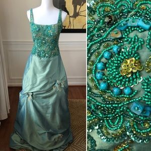 Jovani Prom Dress Beaded Sea Green Mermaid Ophelia